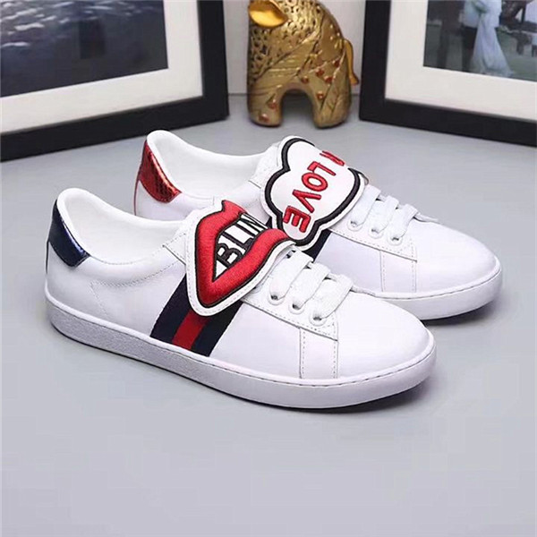 High Quality Cowhide Couples Sneakers With Red Lips Embroidery Featured Image