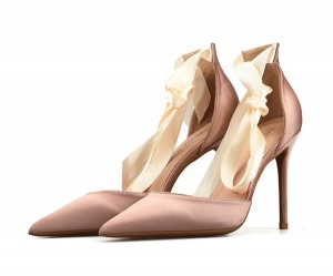 Nude Silk Satin Pointed Toe Stiletto Bandage Sandals Women