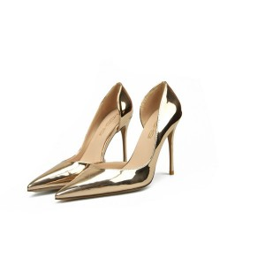 Gold-Plated Patent Leather Stiletto Shoes Ladies Catwalk Shoes