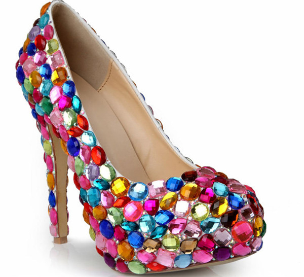 14cm Super Heel Colorful Sequin Crystal Platform High Heel Shoes