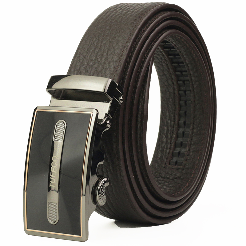 Fashion Business Men's Leather Belts, Automatic Buckle Leather Strap, Automatic buckle Ratchet Belt