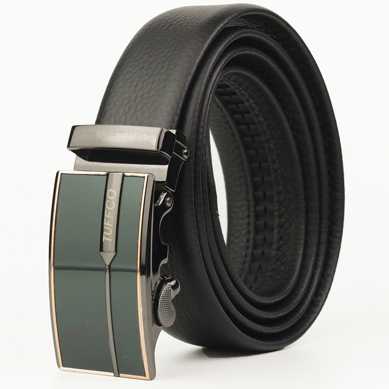 Men Belts Automatic Ratchet Buckles Durable Leather Belt Waistband Strap 130cm