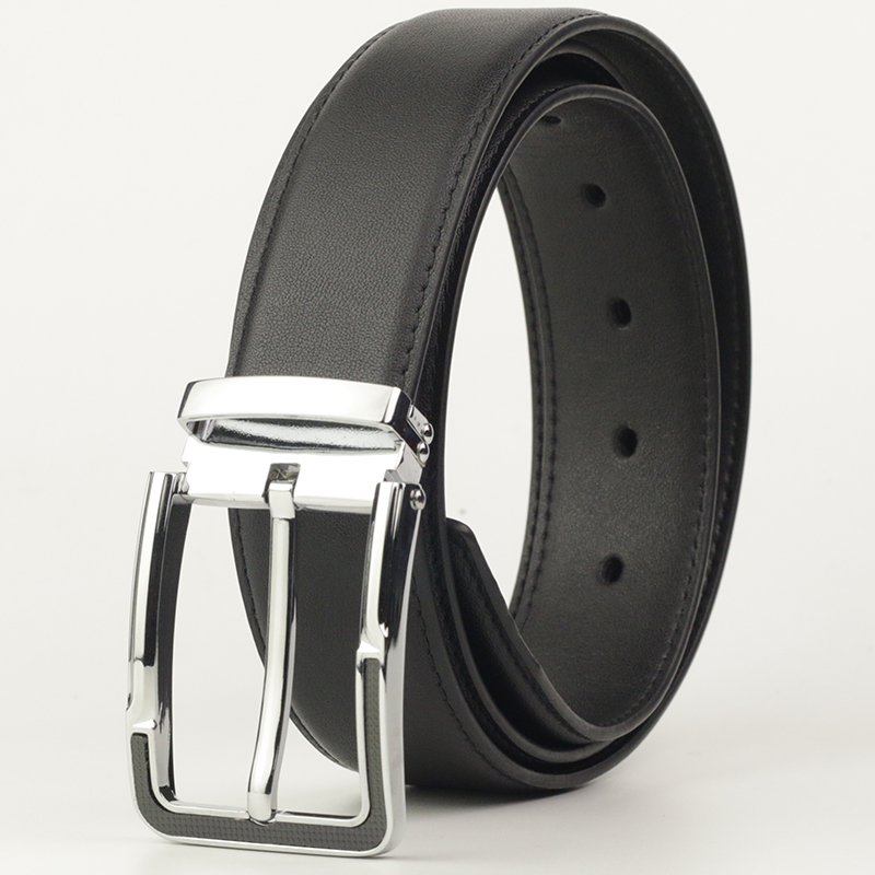 Fashion Casual Dress Belt for Men Genuine Leather Belt with Pin Buckle Men's Waist Strap 110cm
