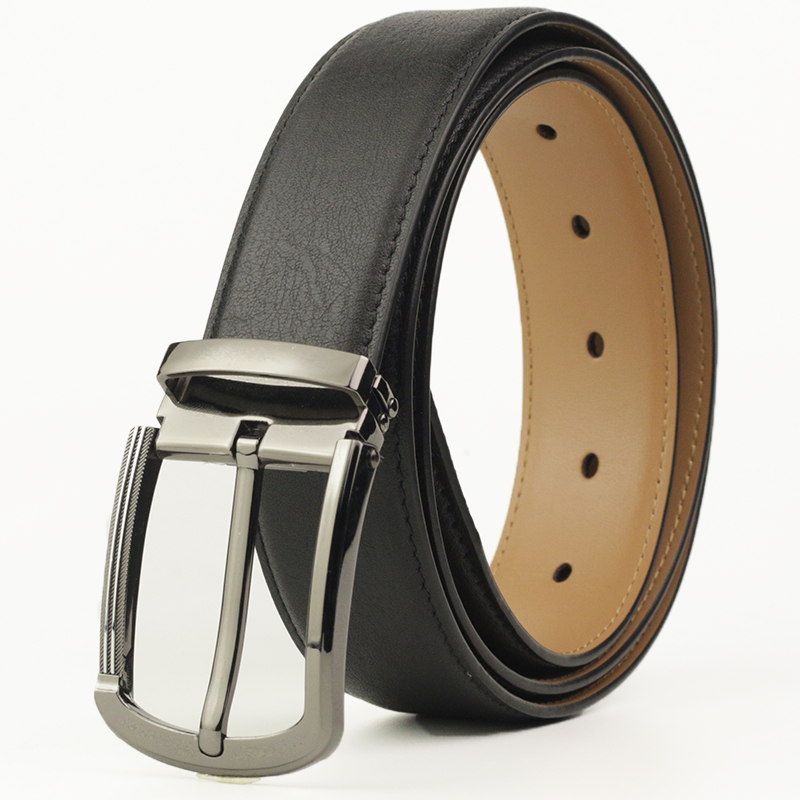 New Designer Dress Belt for Men Genuine Leather Belt with Pin Buckle Men's Waist Strap