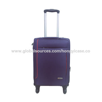 Lightweight soft-side nylon trolley luggage with expandable space