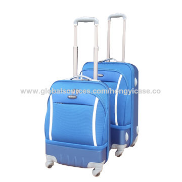 Nylon soft luggage sets with 4 spinner wheels