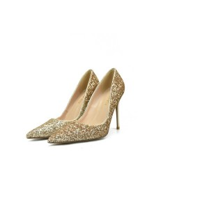 Big Yard Size Golden Sequins High Heel Fashion Women Pumps Size 32 To Size 46