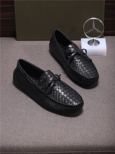 Custom Made Nappa Shoes Men Black Braid Cowskin Loafers Size 38 To 46