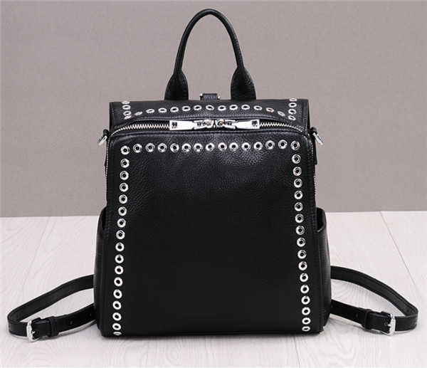 High Quality Fashion Rivet Backpacks And Crossbody Bag Black Cowhide Leather