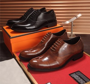 OEM Made Men Dress Shoes Lace-Up Genuine Cowhide Business Shoes Supplier