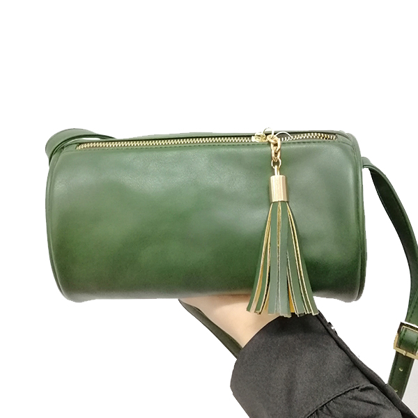 Dark green retro fashion geometric cylinder shoulder bag for women