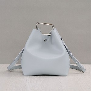 Wholesale Light Grey Cowskin Leather Designer Bags Women'S Branded Bucket Bag