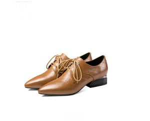 Light Tan Leather Lace-Up Lady Dress Shoes