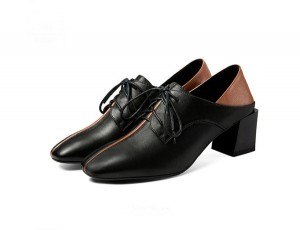 5.5cm Middle-Heeled Black Cowhide Leather Stylish Step-On Lace-Up Shoes