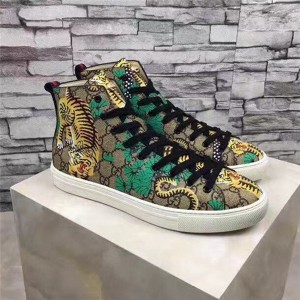 High-Grade Tiger Printed PVC Fabric Sneakers Ankle Boots With Black Shoeslace