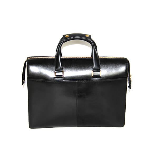 Leather men's bag men's handbag business bag 15 inch computer bag briefcase double main bag black