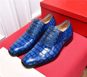 High Quality Italian Dress Shoes Blue Alligator Cowhide Designer Shoes With Shoes Lace