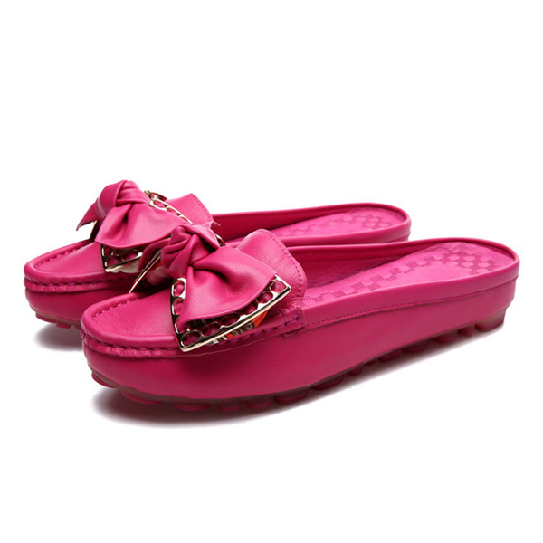 OEM Made Women Hot Pink Cow Leather Half-Slippers Shoes