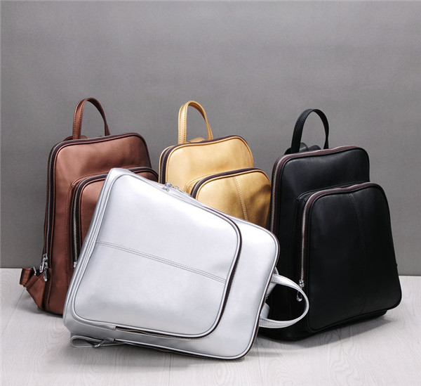 High Quality Cowhide Leather Backpacks For Girls School Bags