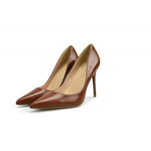 Brown Microfiber Leather Shoes Ladies Pointed Stiletto Shoes