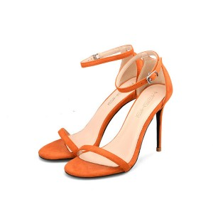 Lady Orange Suede Plus Size Sandals With Ankle Strap