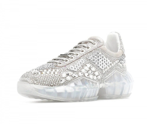 Women Rhinestone Sports Shoes With Transparent Outsole