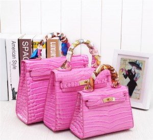 Newest Pink Crocodile Grain Women Tote Bags Handbags Fashion Bags Totes