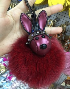 bag hanging accessory fashion red Rabbit Fur accessory women accessory bags accessory handbag decorations leatherware factory