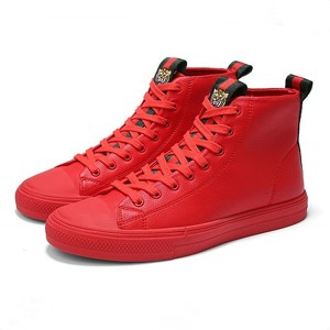 Tiger Embroidery Red Microfiber Leather Trainers For Men