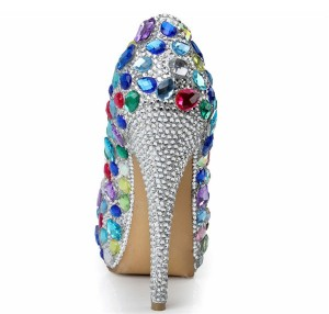 Handmade Colorful Sequin Pearl 14cm Super High Heel Sexy Pumps Women