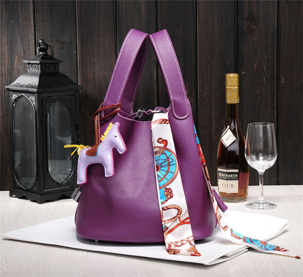 High Quality Purple Handbags For Women Mini Bucket Bag With Silk Scarf