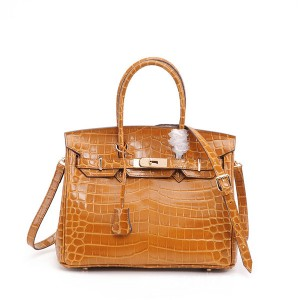 High Quality Lady Handbags Yellow Alligator Grain Calfskin Bags Factory