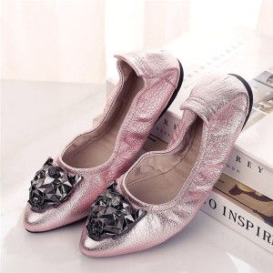 Lady Ballet Dance Shoes Women Soft Sole Foldable Flat Designer Shoes OEM