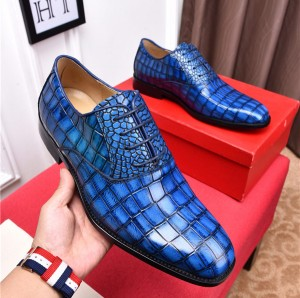 High Quality Italian Blue Alligator Leather Shoes Men Dress Shoes Manufacturer