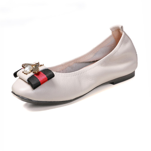 Big Yard Shoes Women White Cow Hide Designer Shoes With Toe Flower