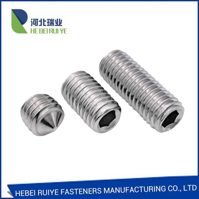Hexagon socket set screw with cone point din 914