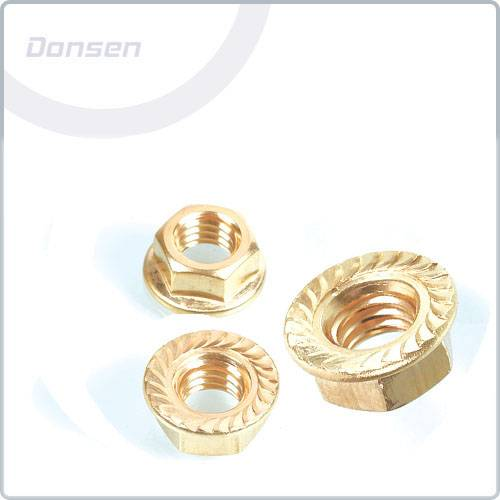 Brass Serrated Flange Nuts
