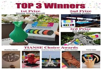 Who Is the Champion? TIANSE Announces All the Winners in Its 3D Printing Contest