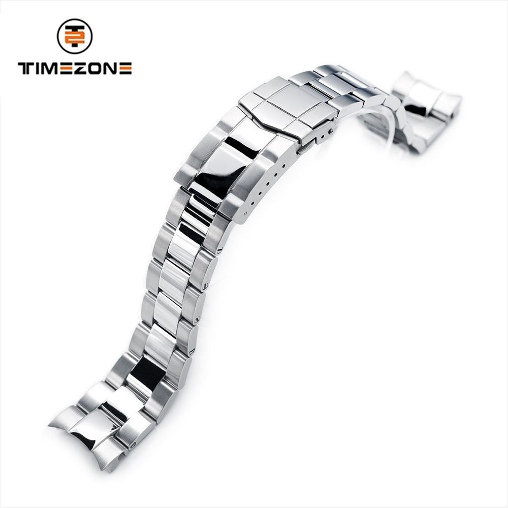20mm Super 3D Oyster Brushed Polished Clasp watch band