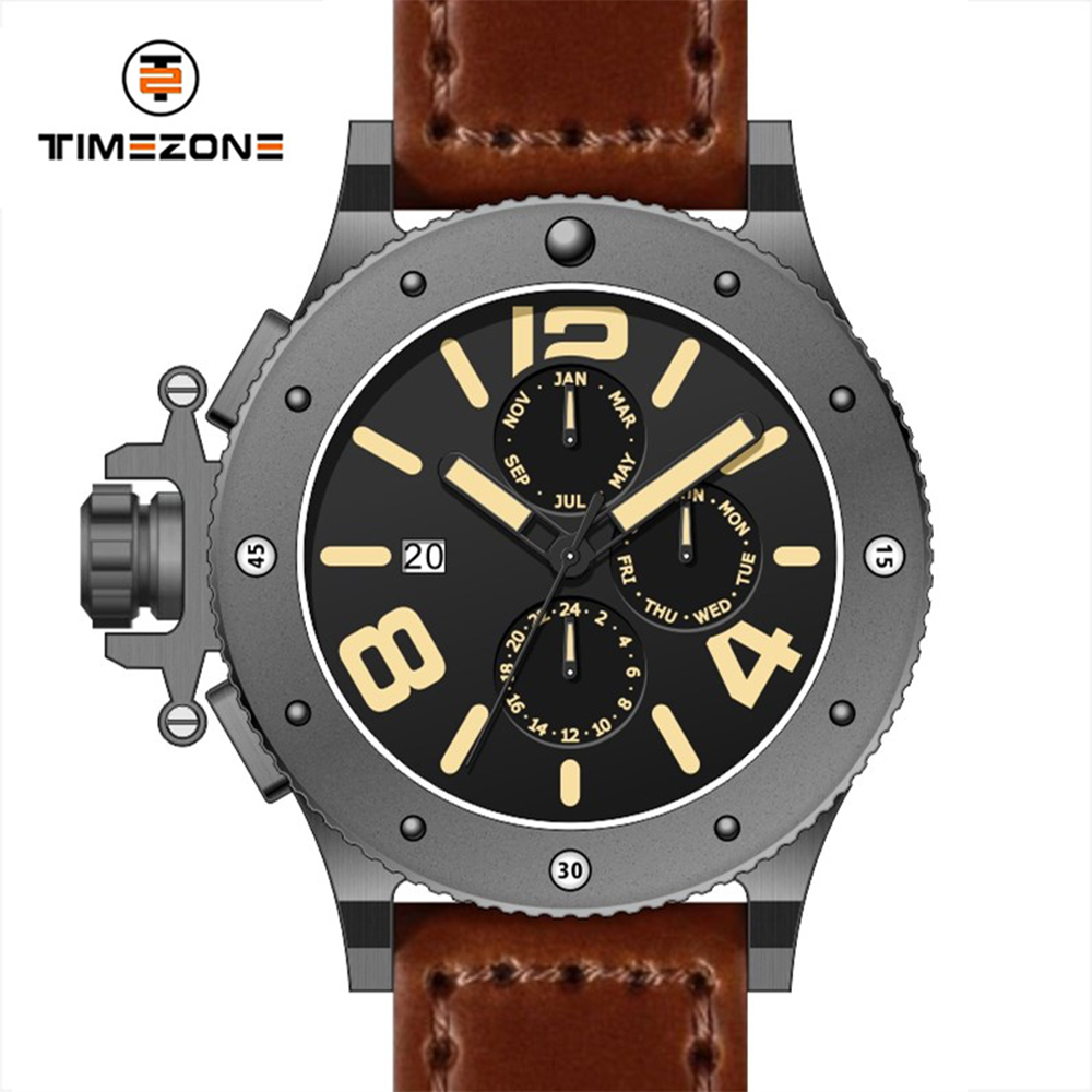New Fashion black and brown Genuine Leather Strap military men mvmt watches