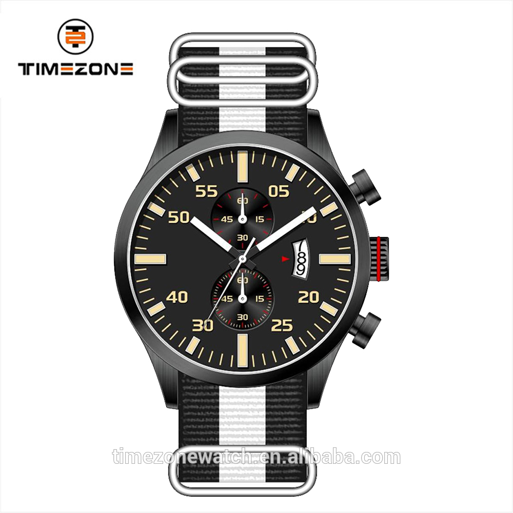 High grade nylon band combination buckle watch 10atm waterproof chronograph watches