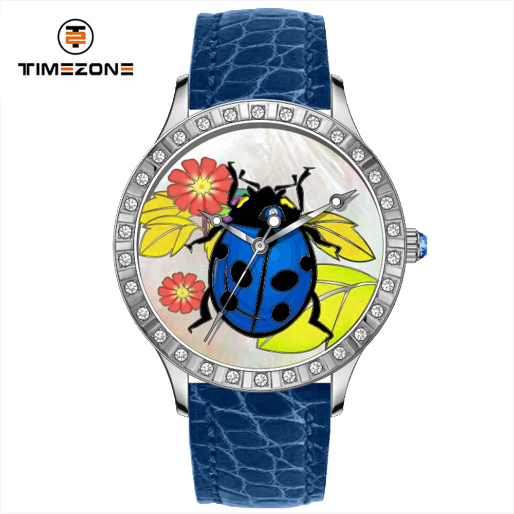Custom luxury stainless steel case watch MOP coccinella dial hand watch for girl