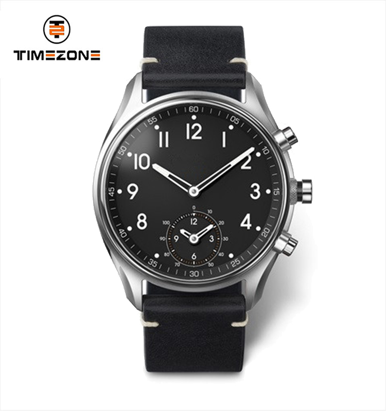 Black Leather Strap Waterproof Watch Custom Logo Men's wrist Watches