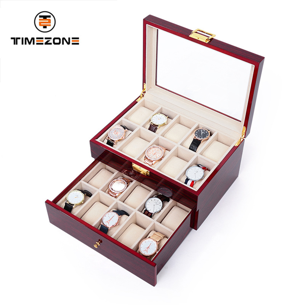2017Best quality High end glossy Piano Lacquer Wooden luxury packing Watch Box