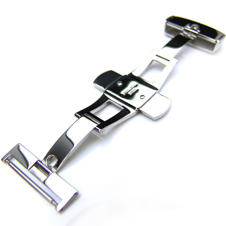 20mm 22mm 24mm Polished Clasp Stainless Steel Leather Strap Deployment Buckle