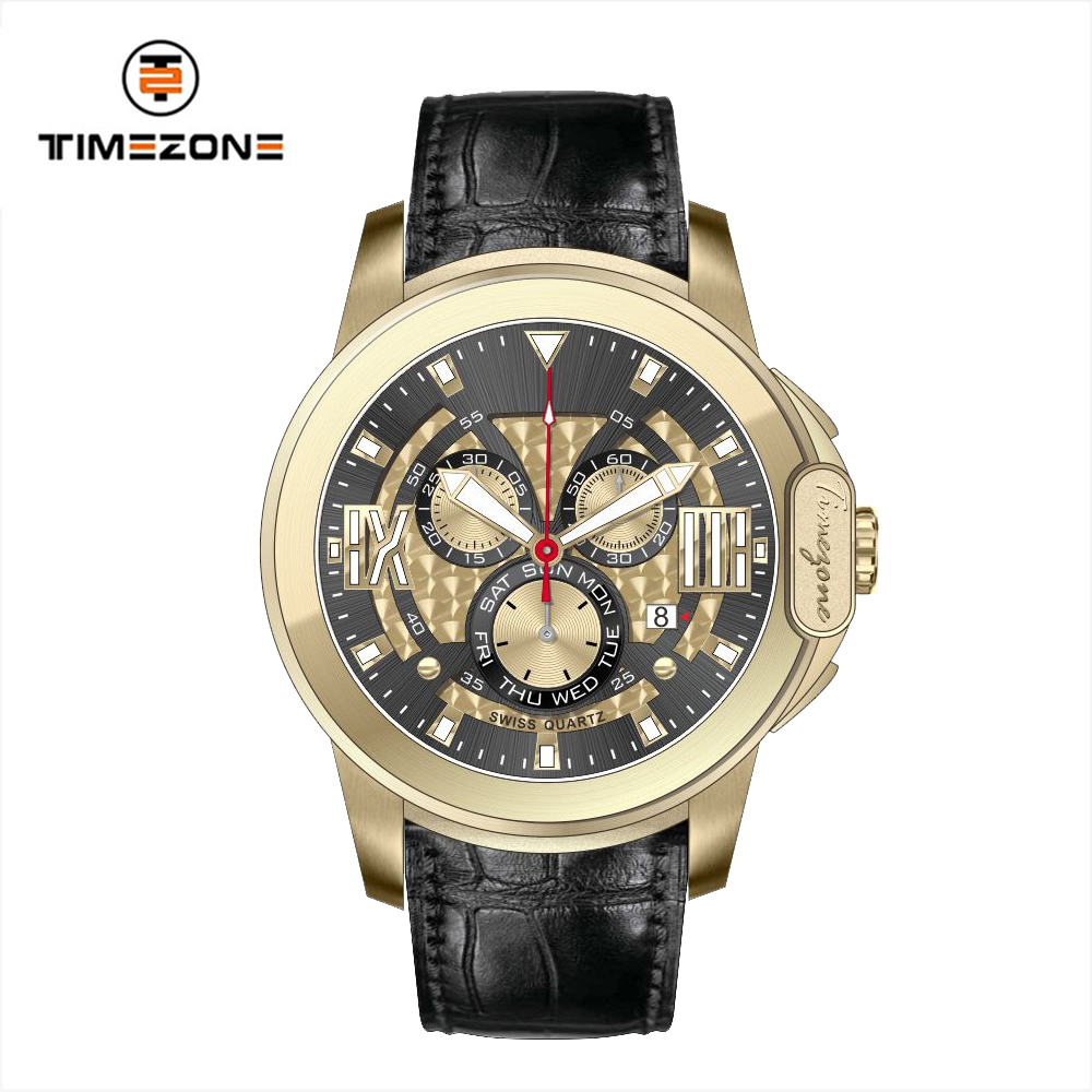 2017 Timezone brand men sporty style 18k gold multifunction Watches