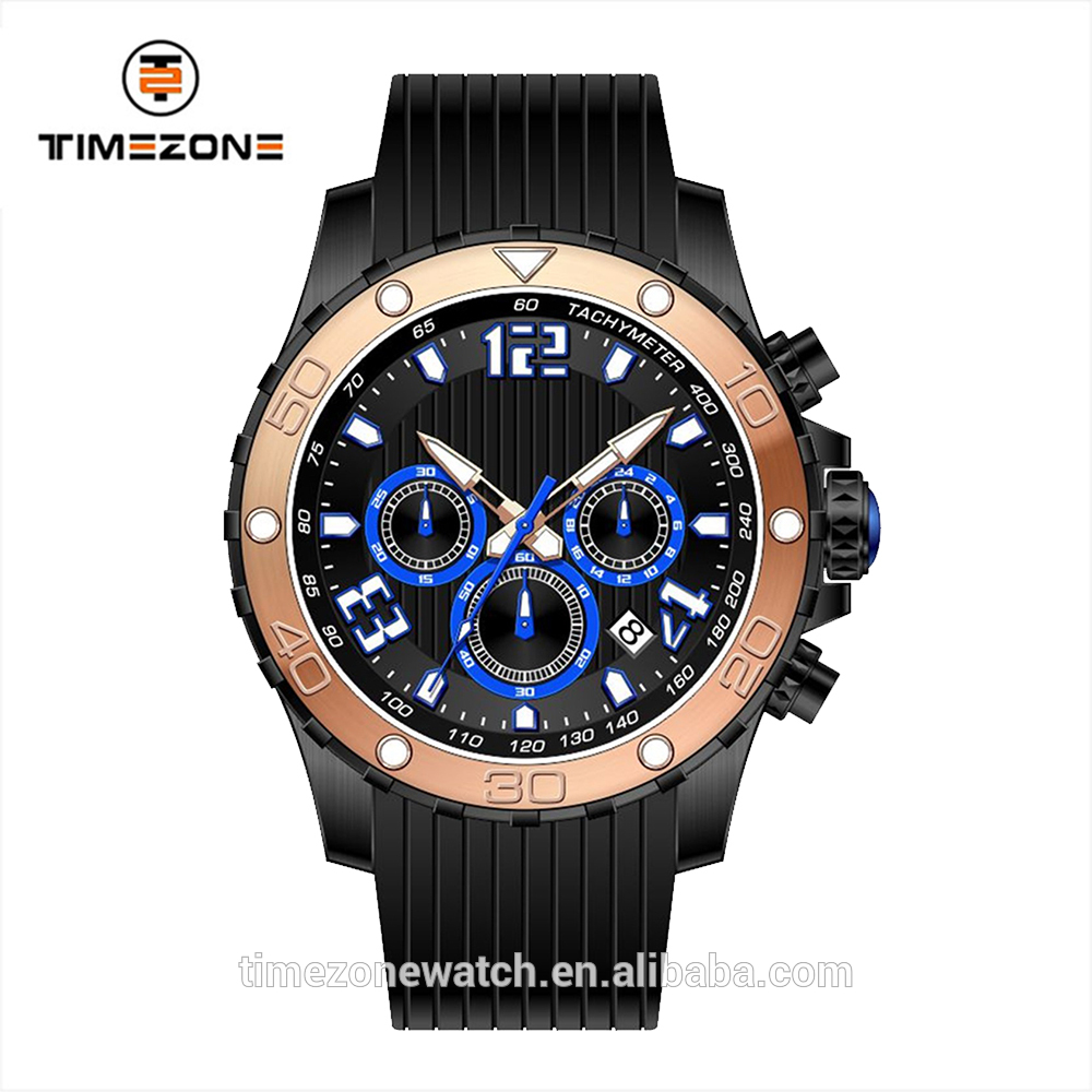 Pilot aviator military silicone band watch rubber strap six hands watches for men