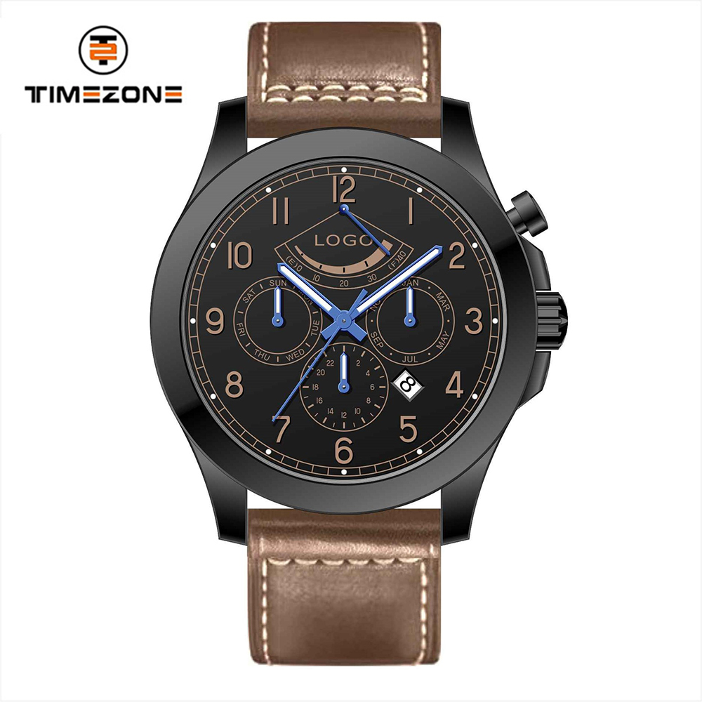 2018 sapphire crystal genuine leather watch casual men watch with automatic movt