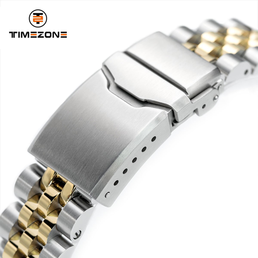 20mm 316L Stainless Steel Two Tone IP Gold Button Chamfer Watch Bracelet