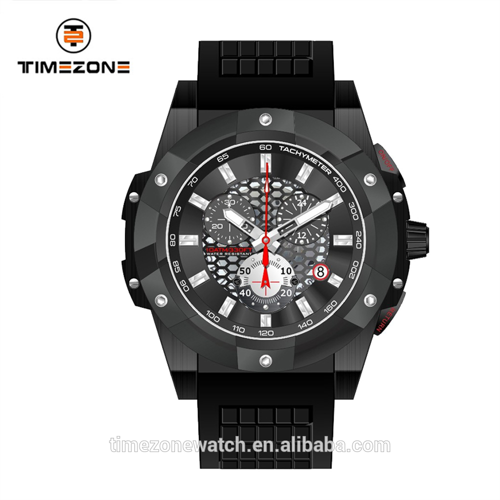 2017 silicon strap gentleman stainless steel oem multifunction watches for men